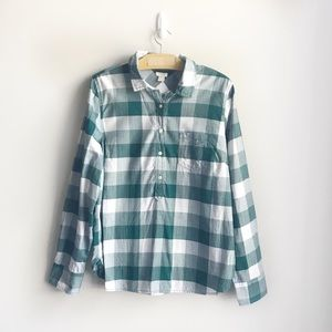 J. Crew Factory Green Plaid Popover Button Down